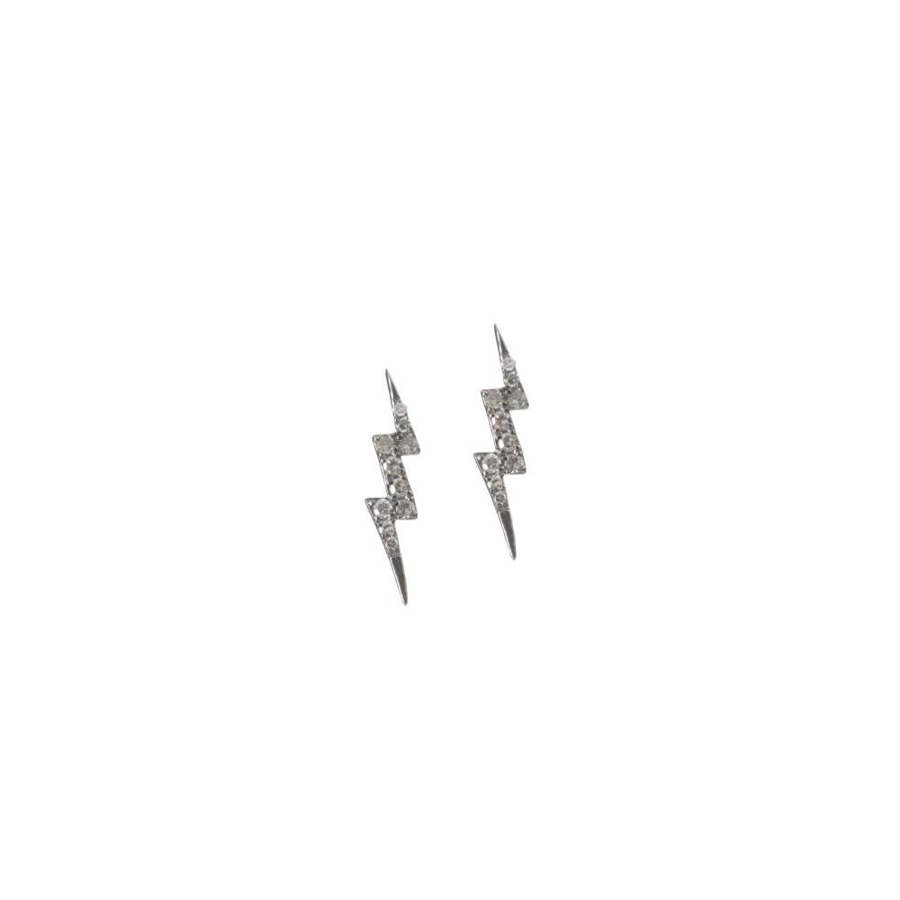 Tiny Diamond Lightning Bolt Studs Sterling Silver