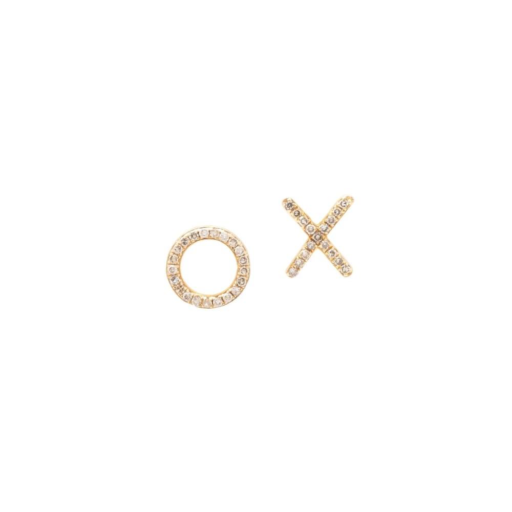 X + O Studs Yellow Gold