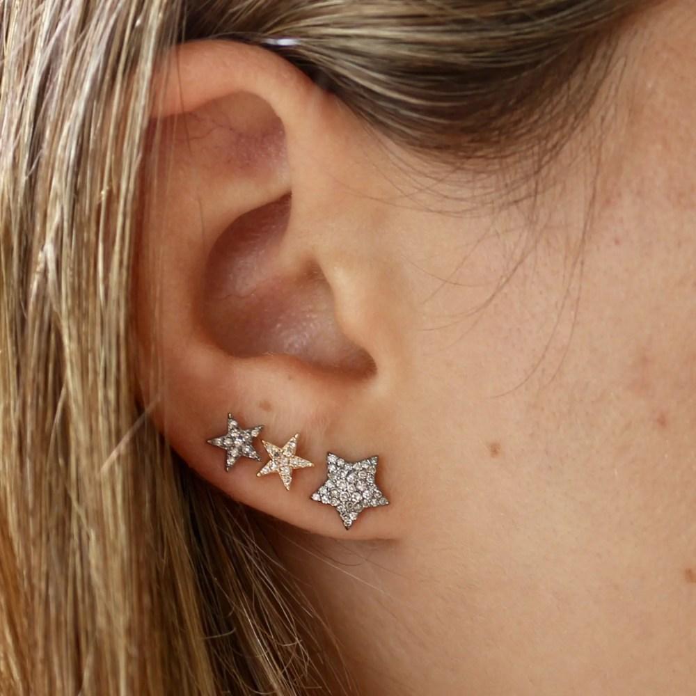 Diamond Chubby Star Studs