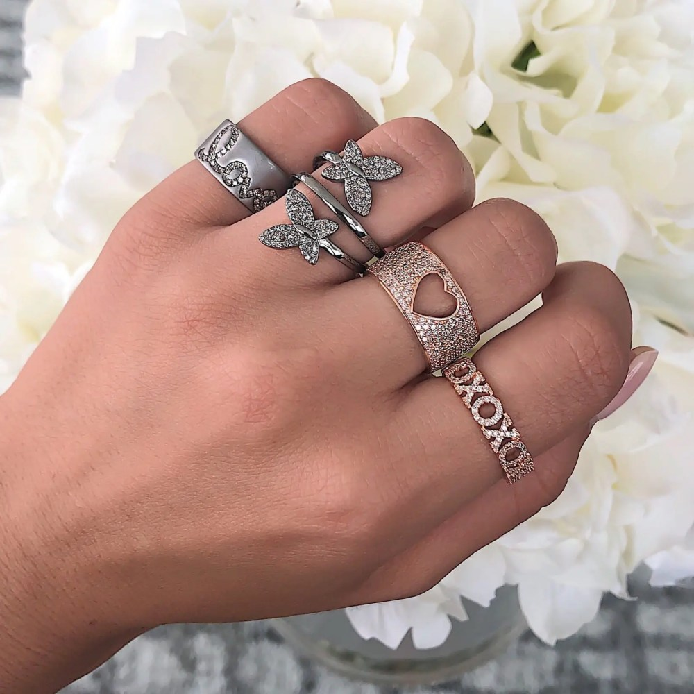 diamond xoxo stacking ring