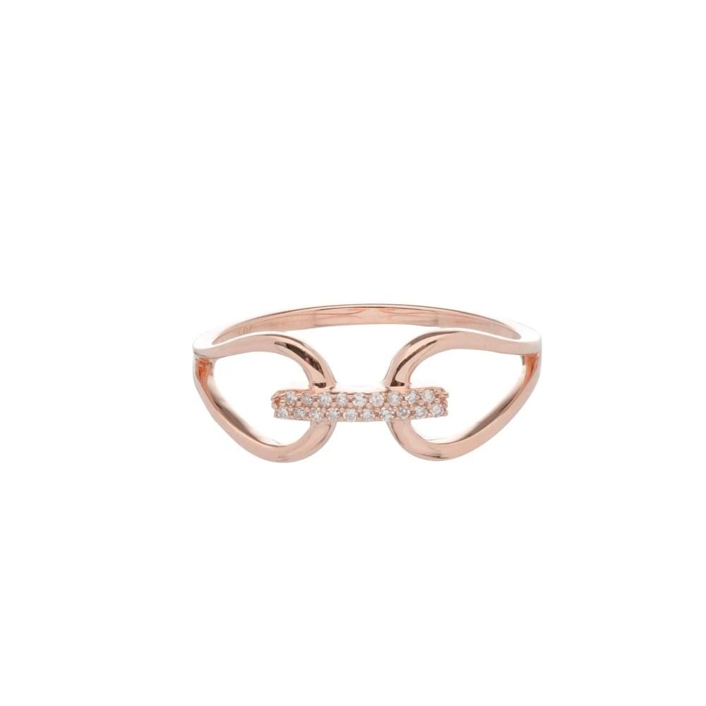 Diamond Connected 2 Circle Ring 14k Rose Gold