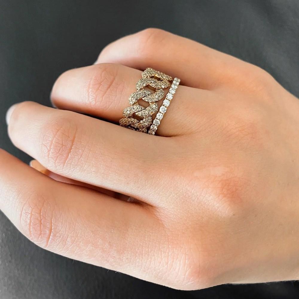 Diamond Flexible Chain Link Ring Yellow Gold