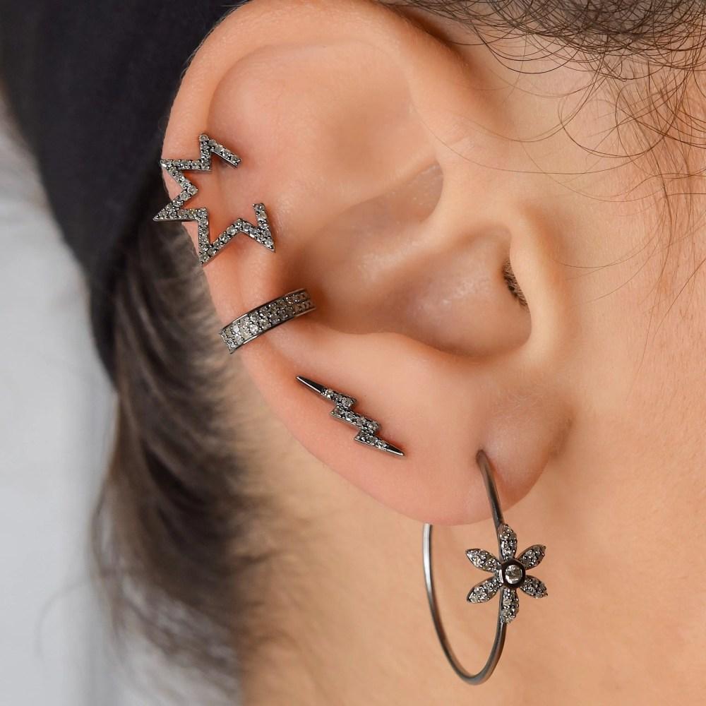 Diamond Flower Hoop Earrings