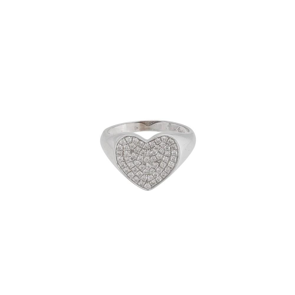 Diamond Heart Pinky Ring White Gold