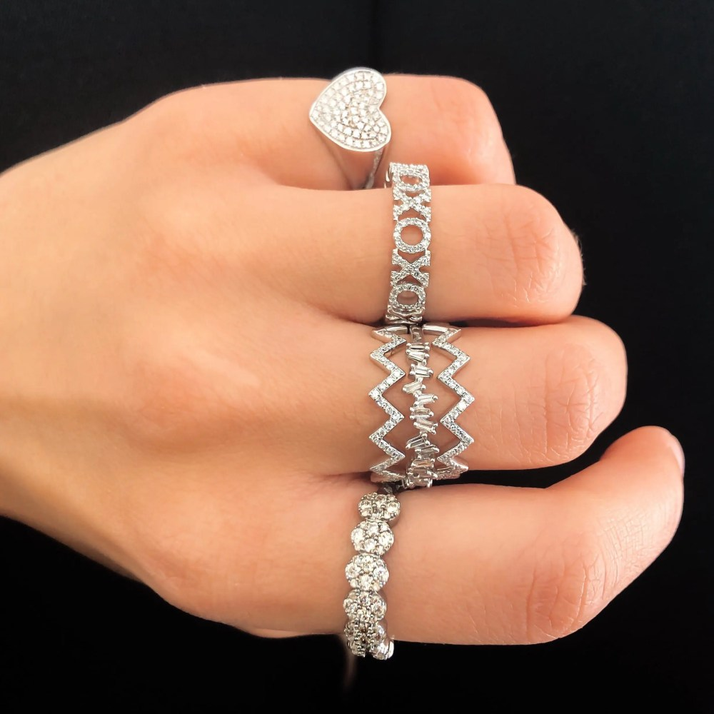 Diamond Heart Signet Pinky Ring