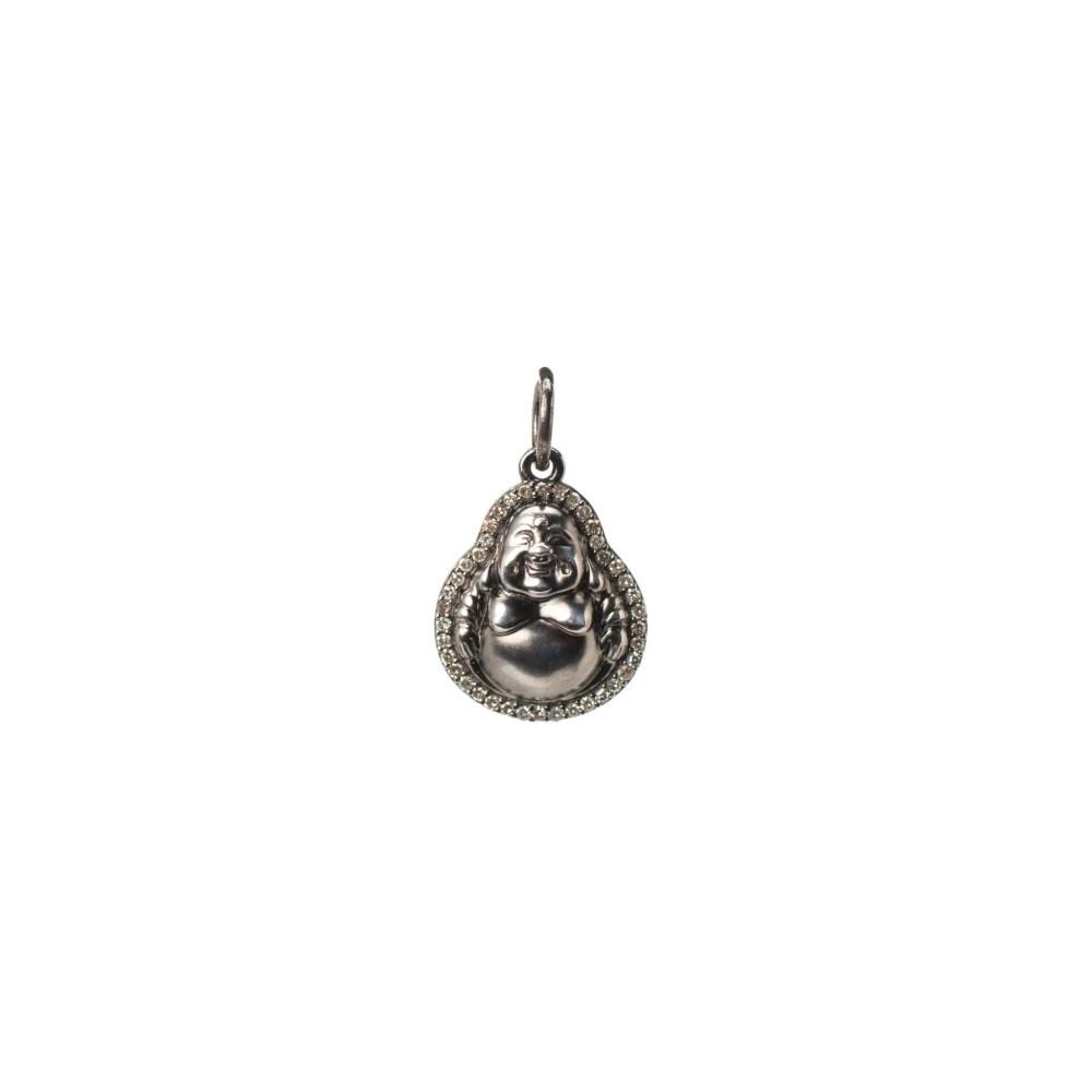 Mini Diamond Happy Buddha Charm Sterling Silver