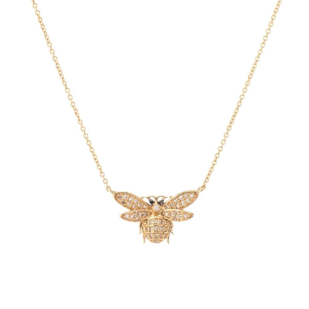 Diamond Bee Necklace 14k Yellow Gold