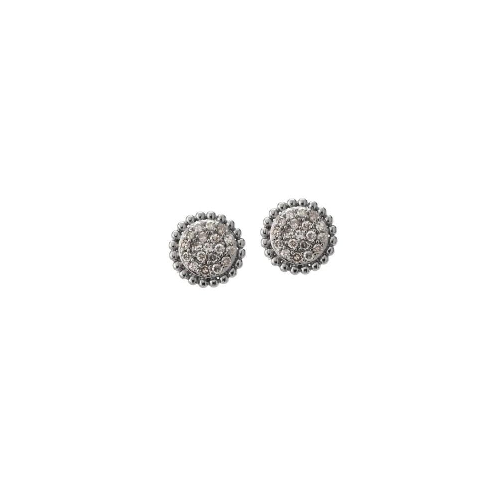 Diamond Pave Beaded Earrings Sterling Silver