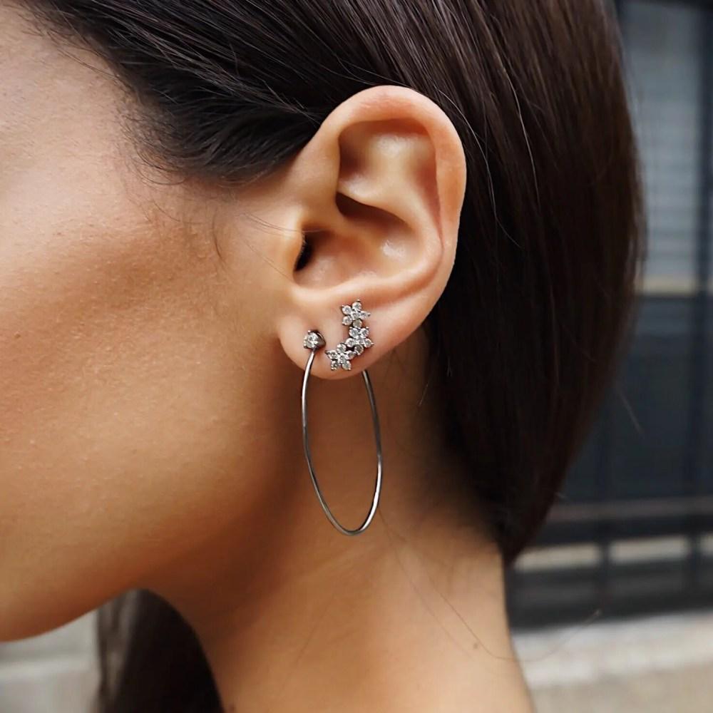 Diamond Stud Hoop Earrings