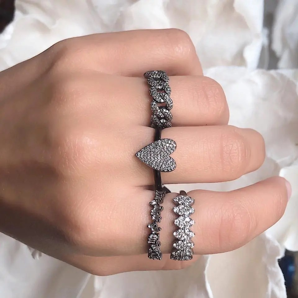 Pave Diamond Heart Ring with Black Enamel Band
