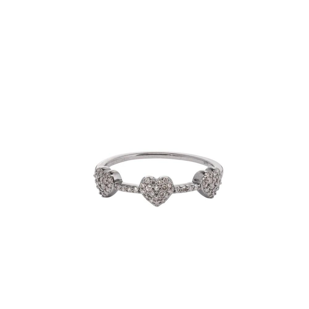3 Hearts Mini Diamond Ring Sterling Silver
