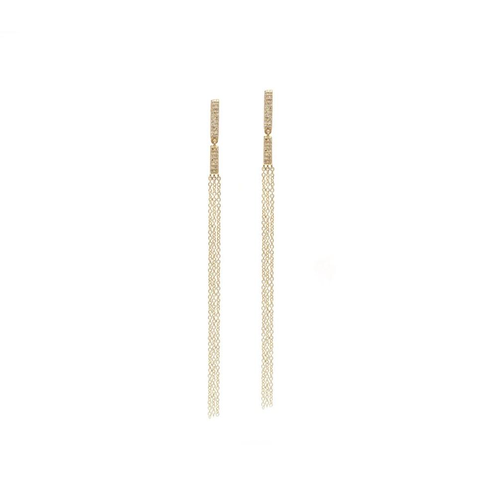 Diamond Hinged Chain Earrings 14k Yellow Gold