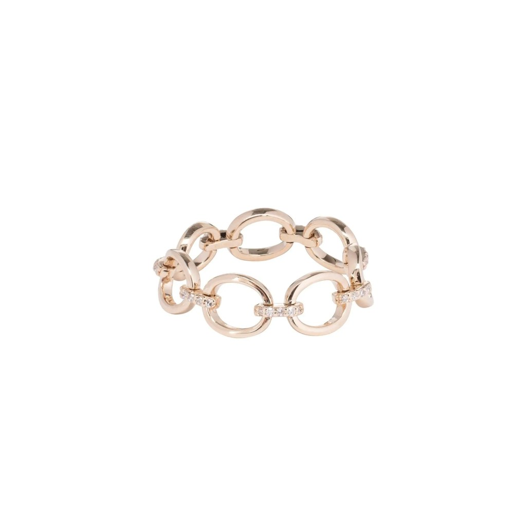 Diamond Link Ring 14k Yellow Gold