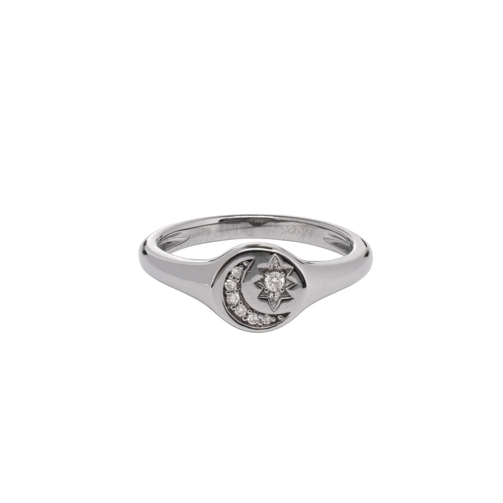 Diamond Moon + Star Pinky Signet Ring Sterling Silver