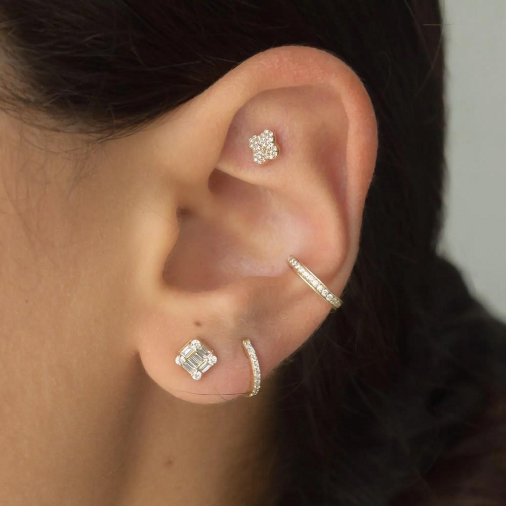 Diamond Square Baguette Earrings