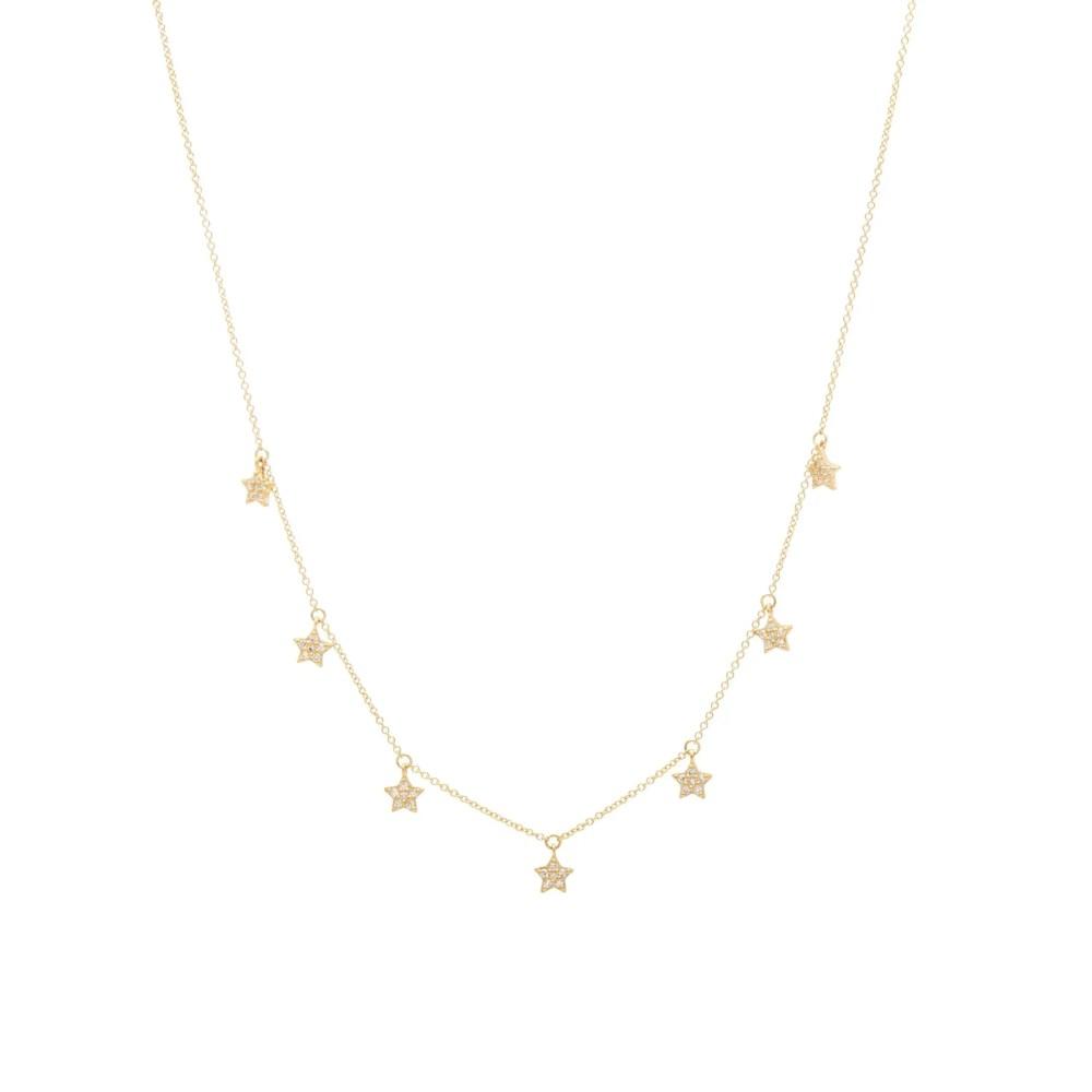 Mini Diamond Dangling Star Necklace Yellow Gold
