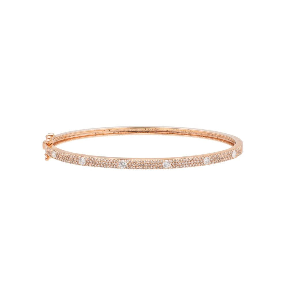 Skinny Pave with Solitaire Diamonds Bangle Rose Gold