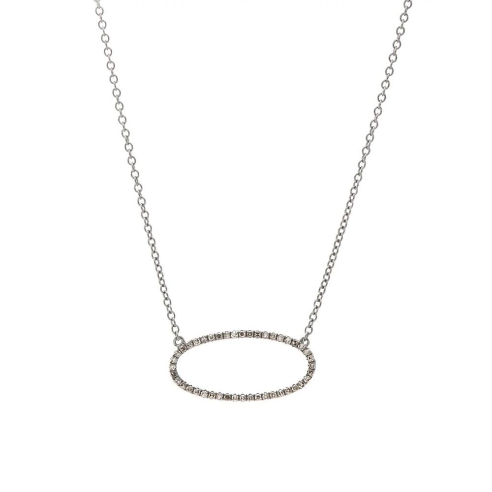 Diamond Open Oval Necklace Sterling Silver