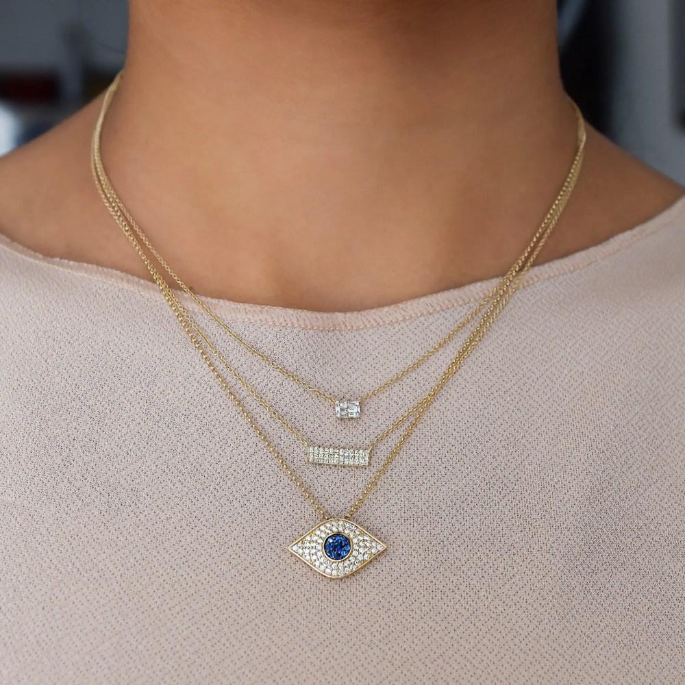 Diamond Sapphire Evil Eye Necklace
