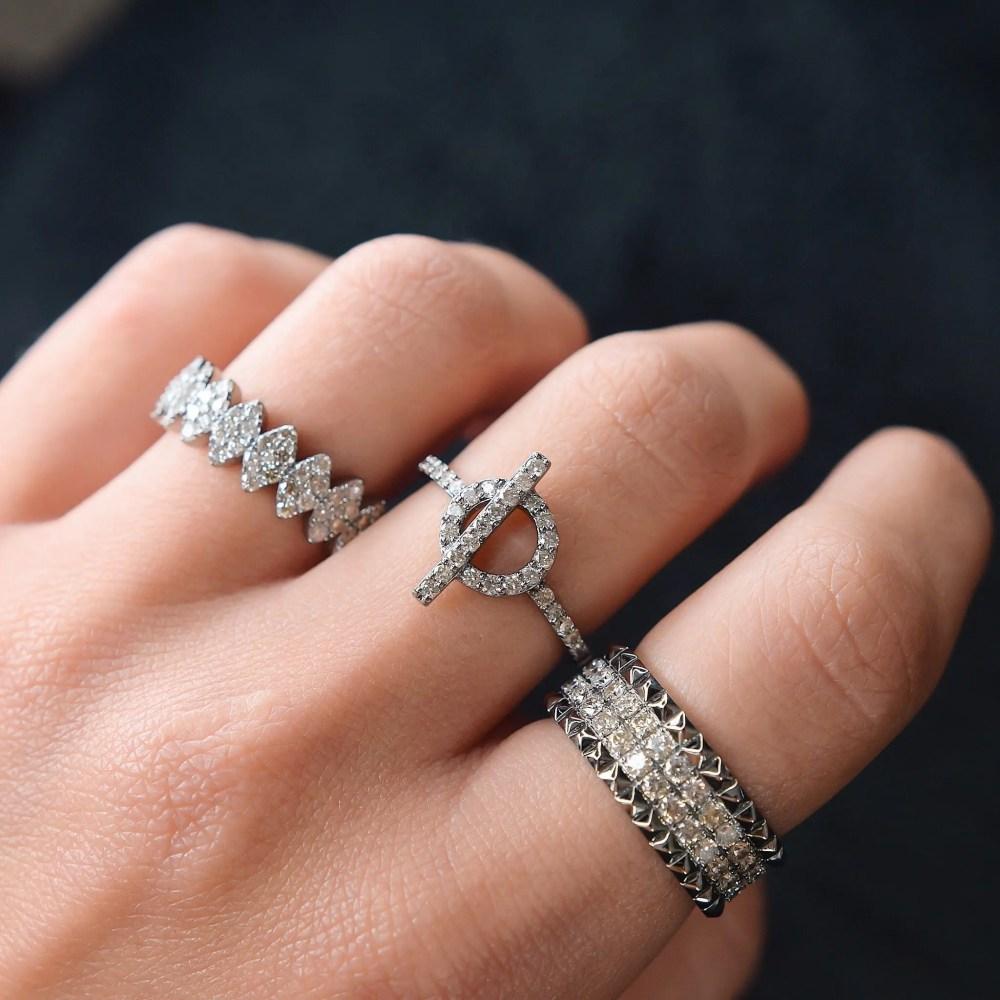 Diamond Toggle Ring Silver