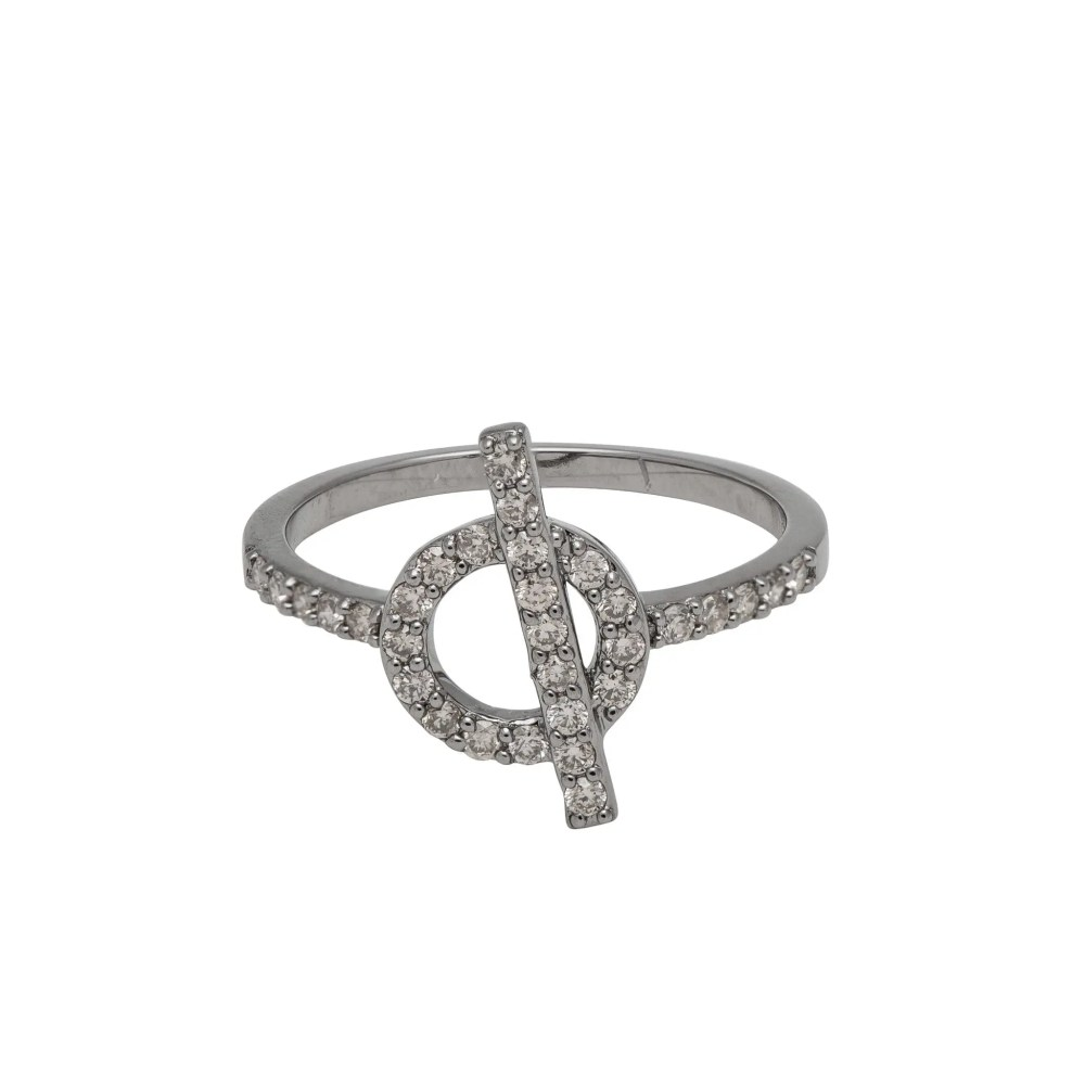 Diamond Toggle Ring Sterling Silver