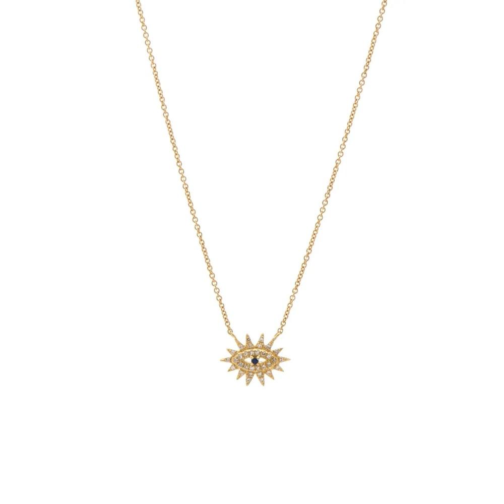 Mini Diamond Evil Eyelash Necklace 14k Yellow Gold
