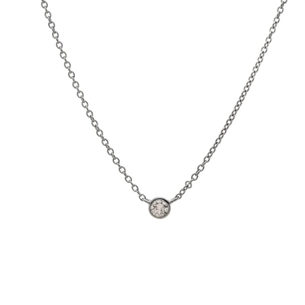 Mini Diamond Solitaire Necklace Sterling Silver