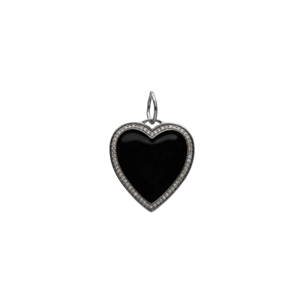 Black Enamel Diamond Heart Charm Sterling Silver