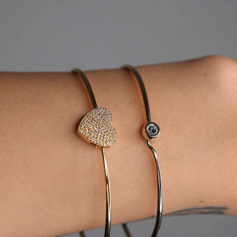 Diamond Bezel Love Wire Bracelet