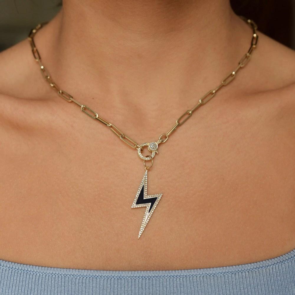 Diamond Black Enamel Lightning Bolt Pendant