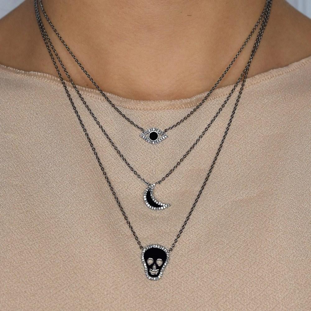Diamond Black Enamel Skull Necklace
