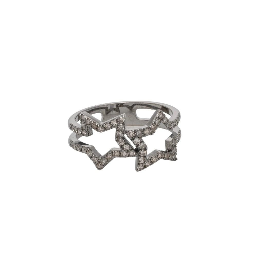 Diamond Double Open Star Ring Silver