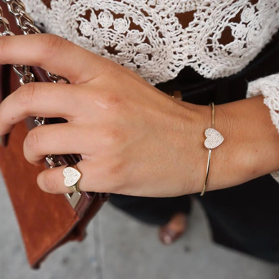 Diamond Heart Wire Bracelet