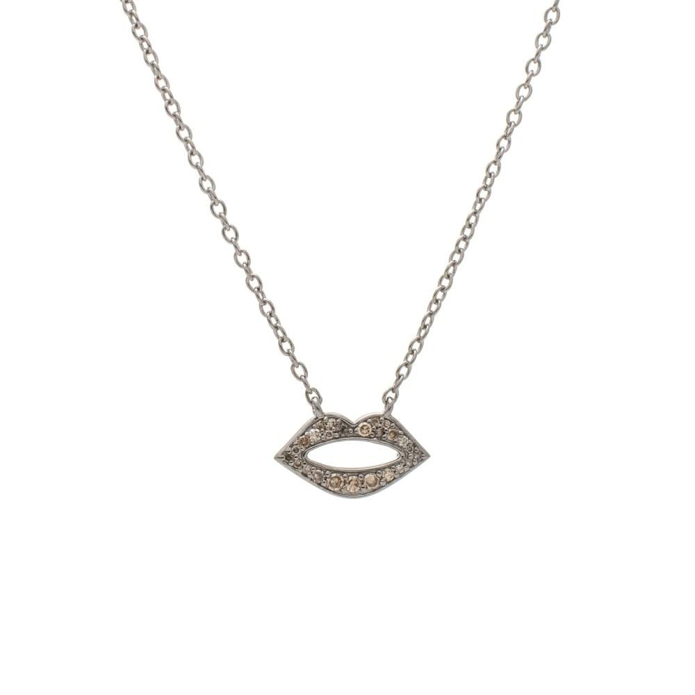 Diamond Mini Lip Necklace Sterling Silver