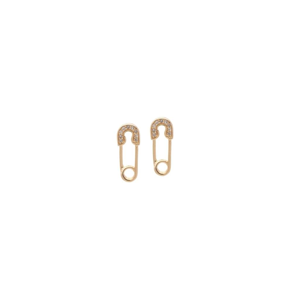 Diamond Mini Safety Pin Earrings Yellow Gold