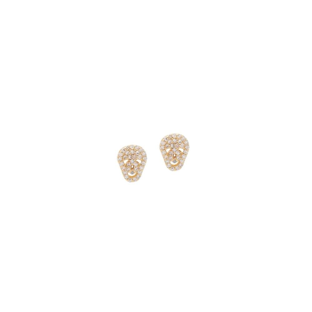 Diamond Mini Skull Earrings Yellow Gold