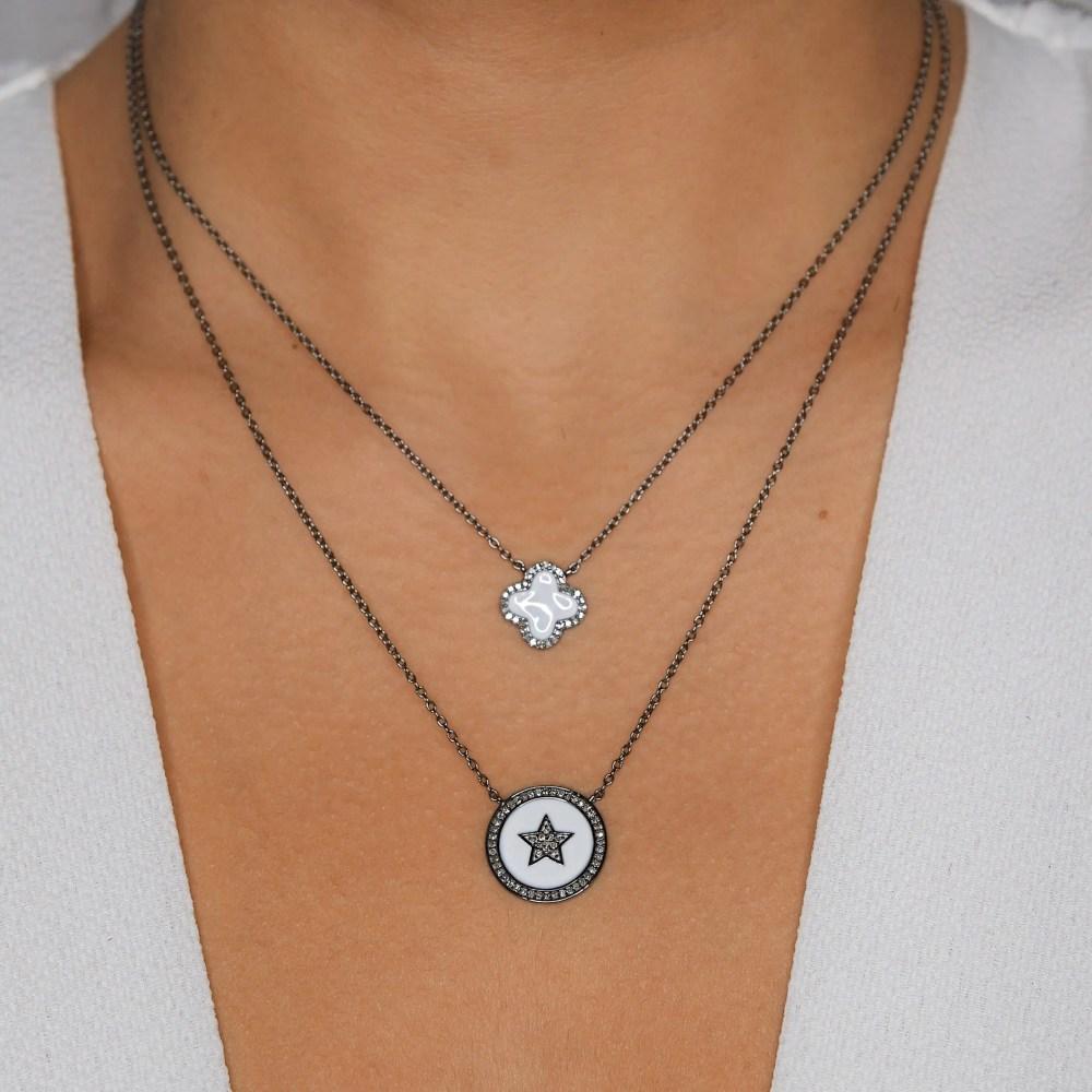 Diamond Mini White Enamel Clover Necklace