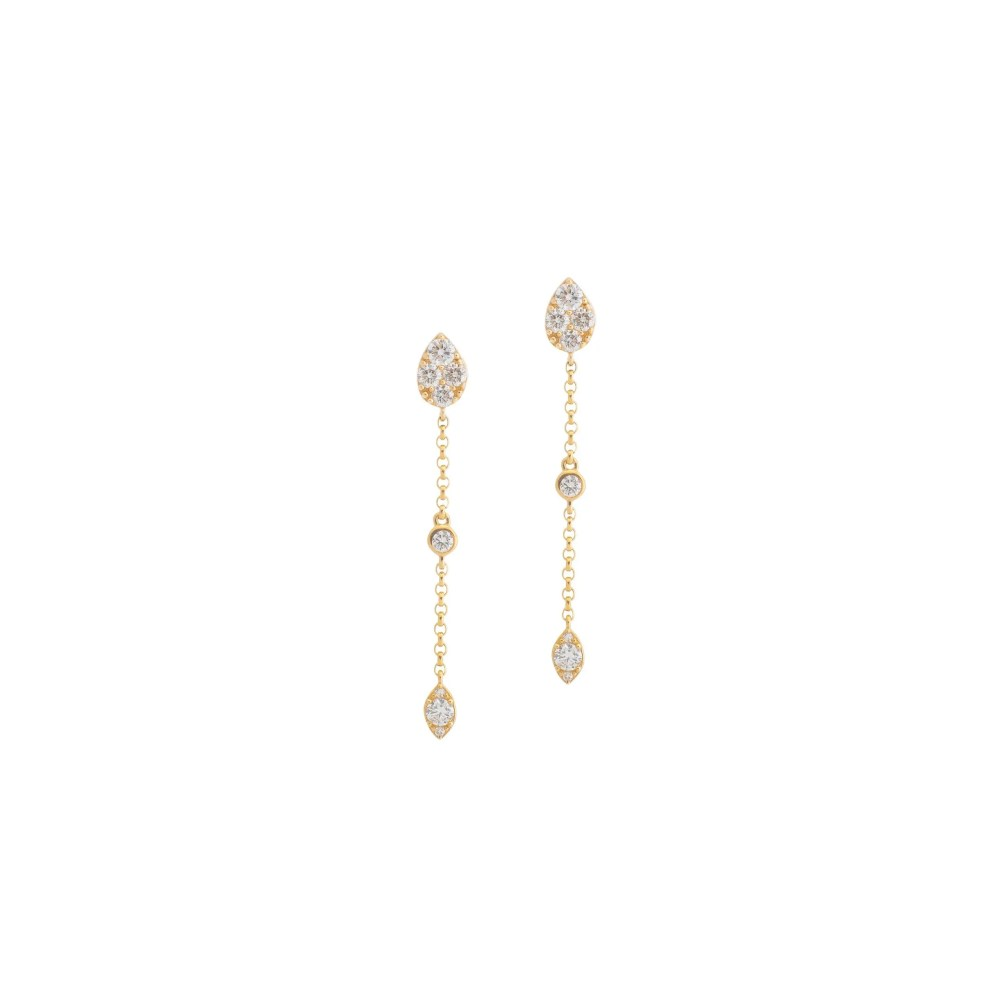 Diamond Pear Drop Chain Earrings Yellow Gold