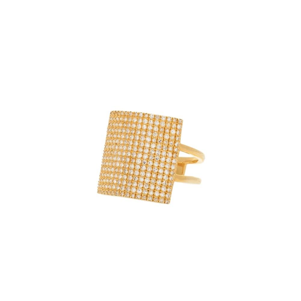 Diamond Square Statement Ring Yellow Gold