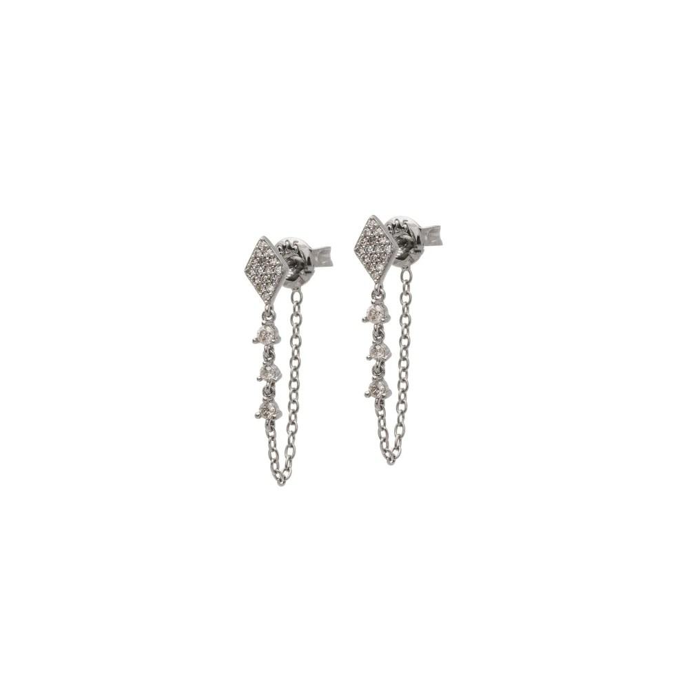 Pave Diamond Drop Chain Earrings Sterling Silver