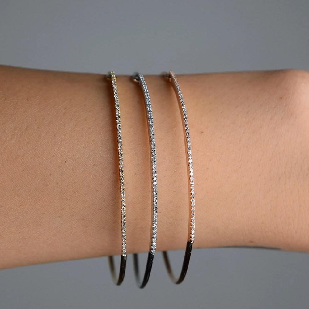 Skinny Diamond Bar Wire Bracelet