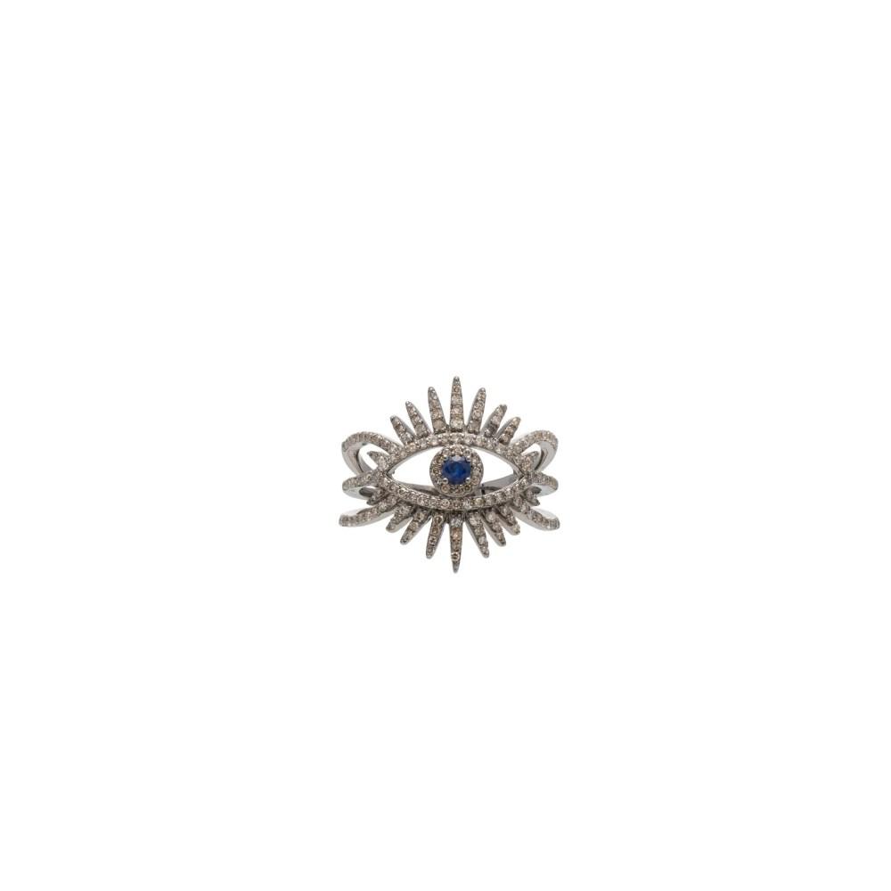 Diamond Evil Eyelash Ring Sterling Silver