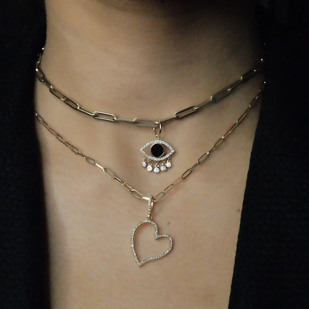 Diamond Open Heart Dangle Charm