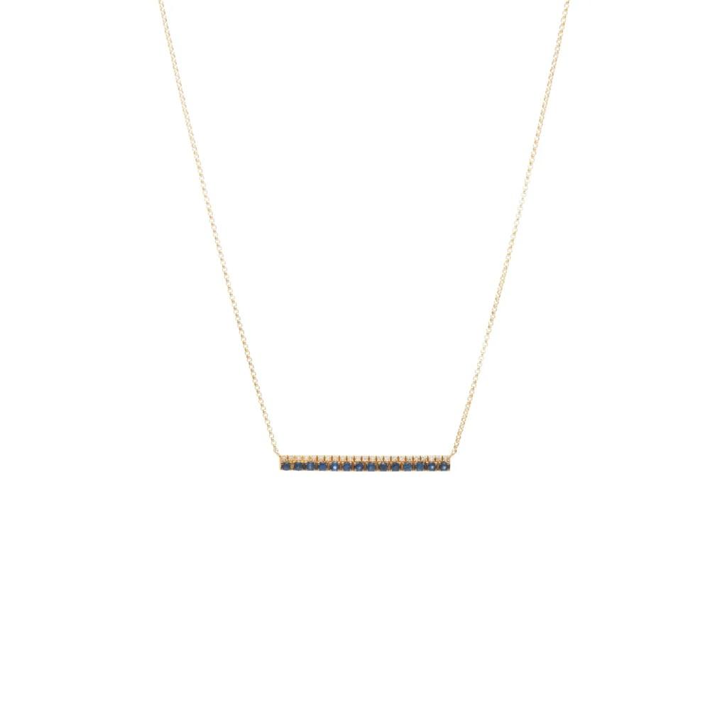Diamond Sapphire Bar Necklace Yellow Gold