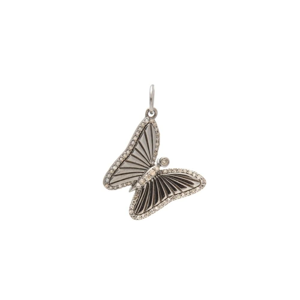 Mini Matte Diamond Butterfly Charm Sterling Silver