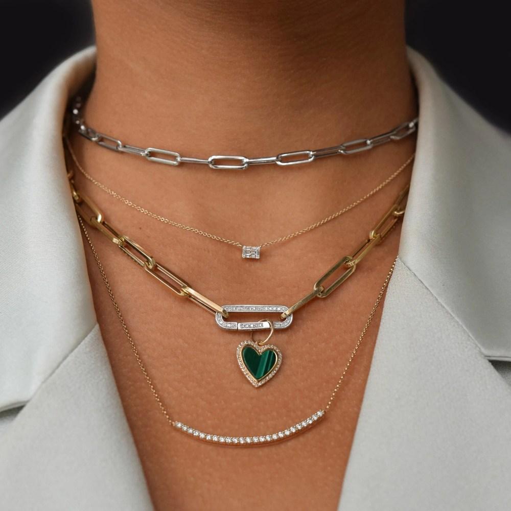 Diamond Ball Set Curved Bar Necklace