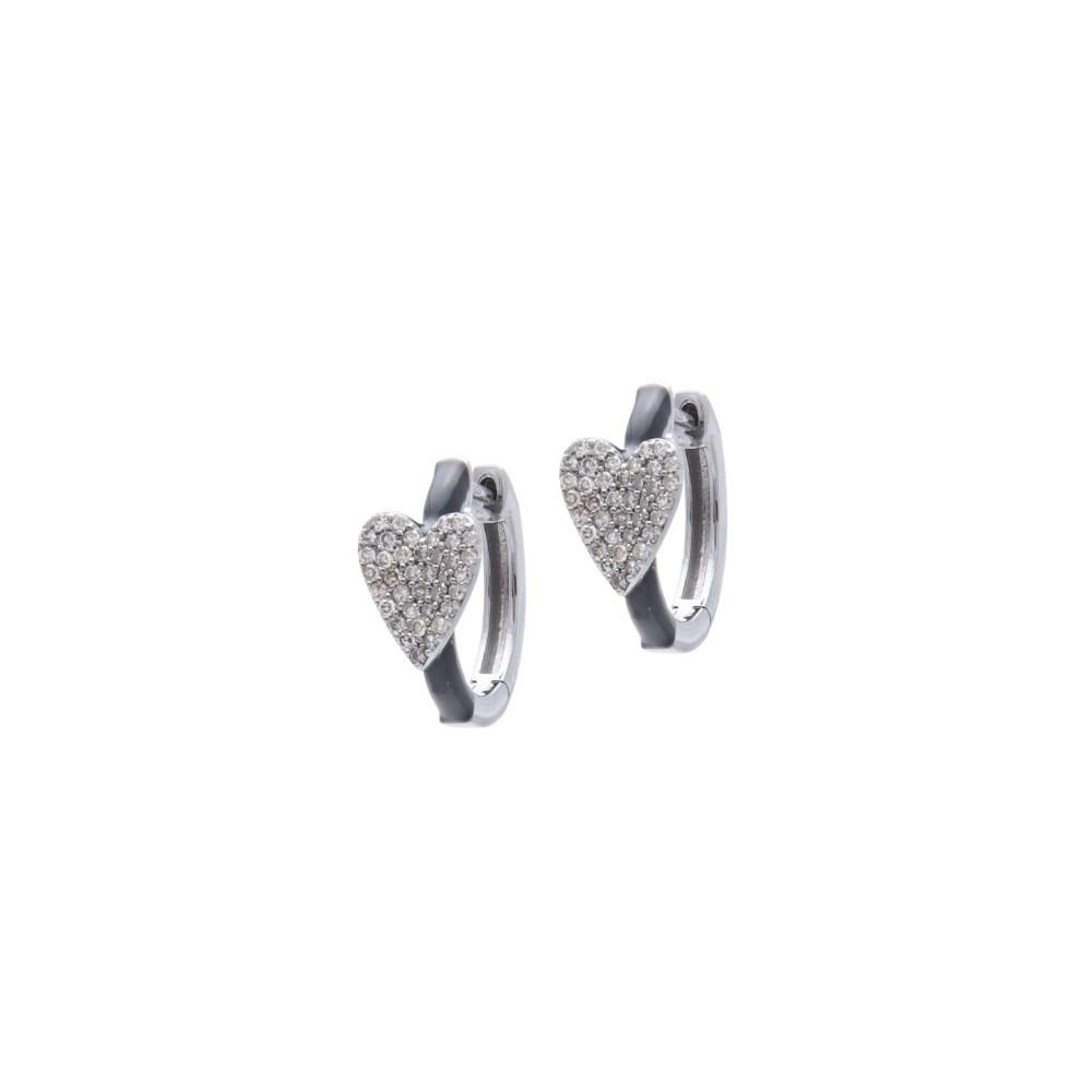 Diamond Heart Black Enamel Huggie Earrings Sterling Silver