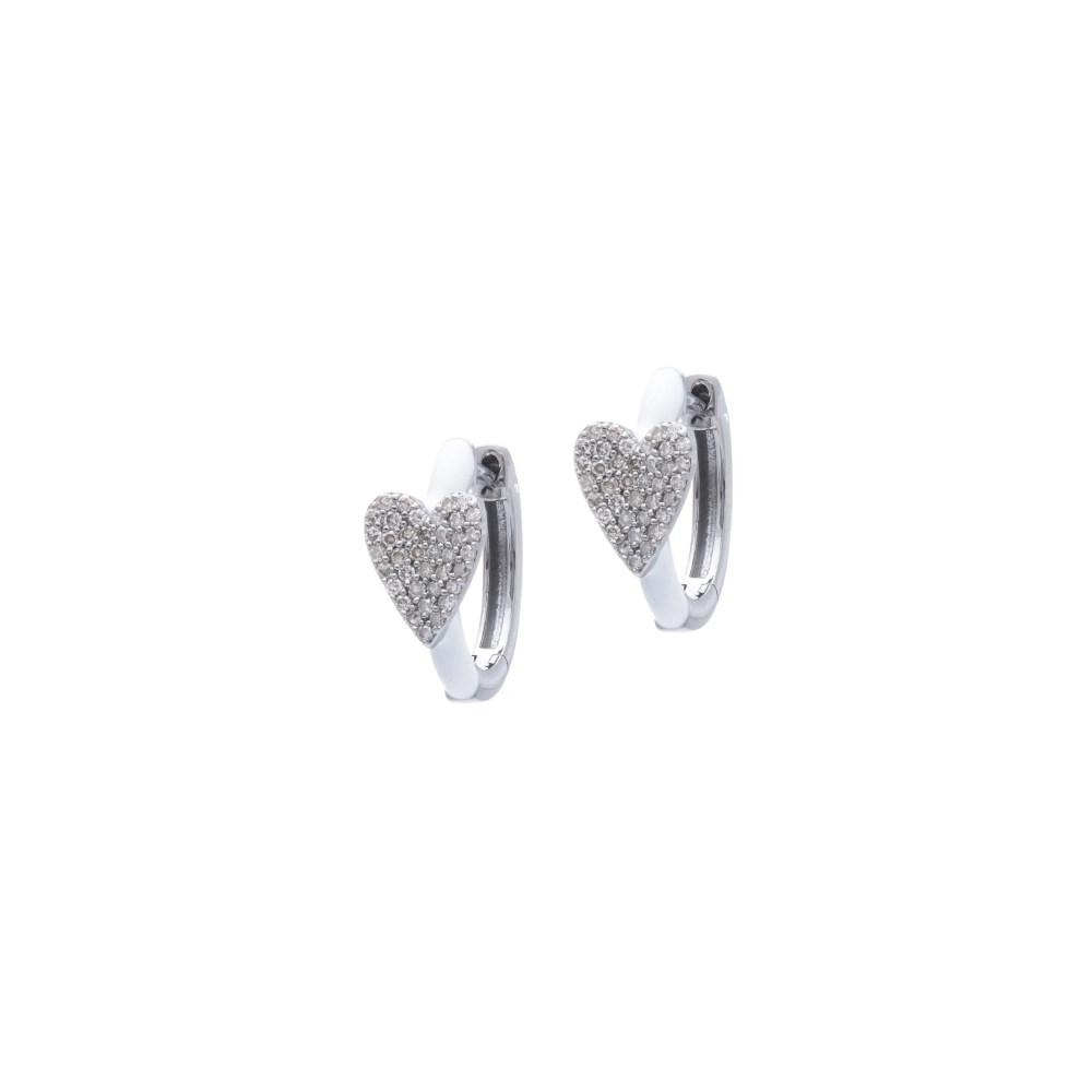 Diamond Heart White Enamel Huggie Earrings Sterling Silver