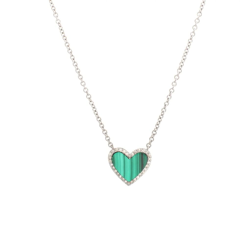 Diamond Malachite Heart Necklace White Gold