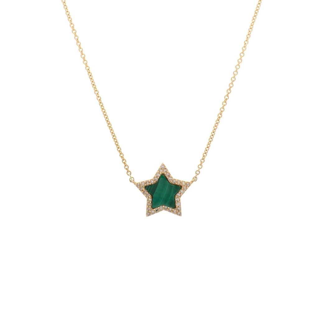 Diamond Malachite Star Necklace Yellow Gold